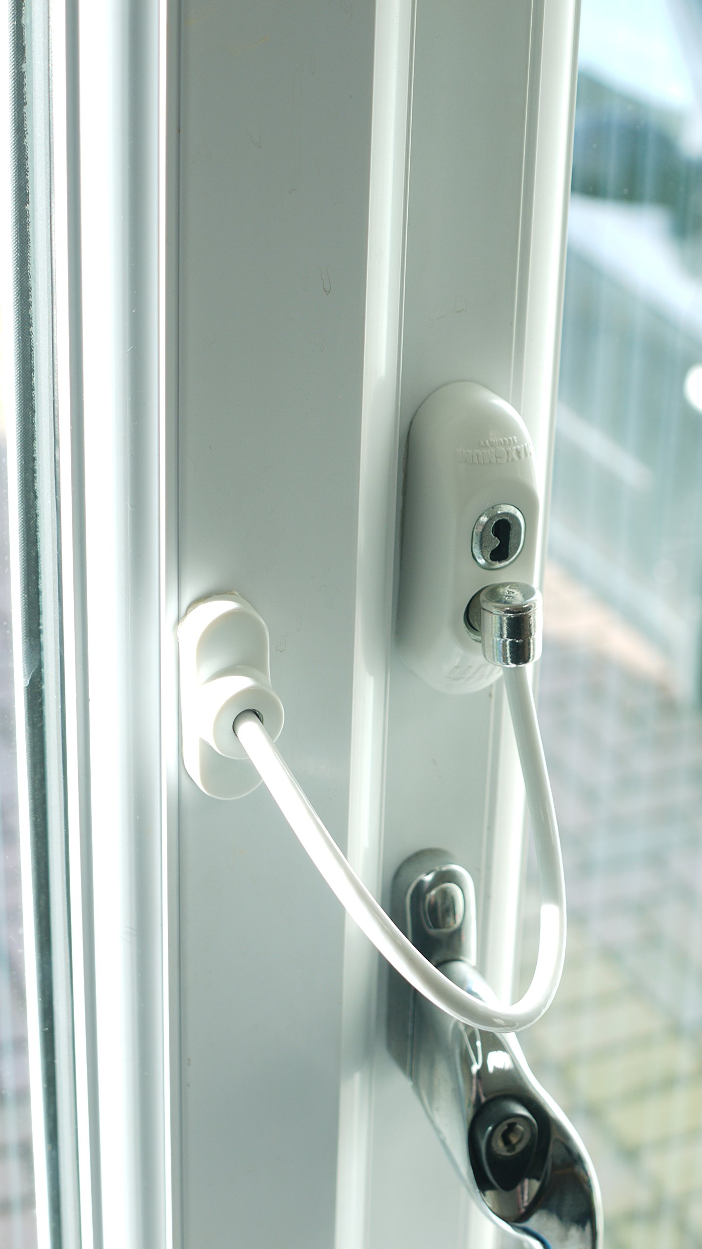 Window Door Restrictor Cable, Security Lock And Key, Baby/Child Safety, Multiple Colors - White by Canzak (Image #1)
