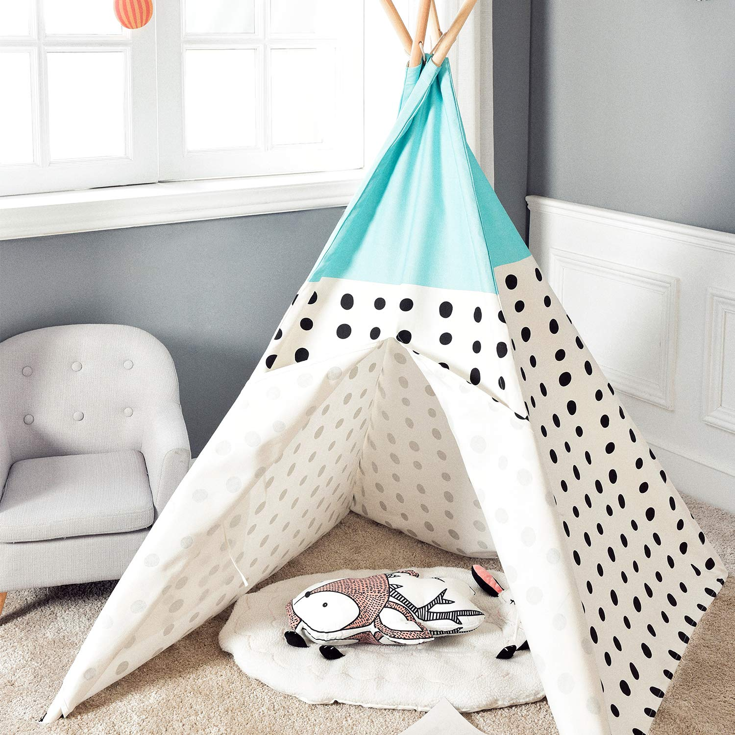 Asweets Teepee Tent for Kids Teepee Play Tent Mat for Boys Indoor Outdoor Play House Tent Indian Canvas Tipi Tent Blue Top Black Point by Asweets (Image #2)