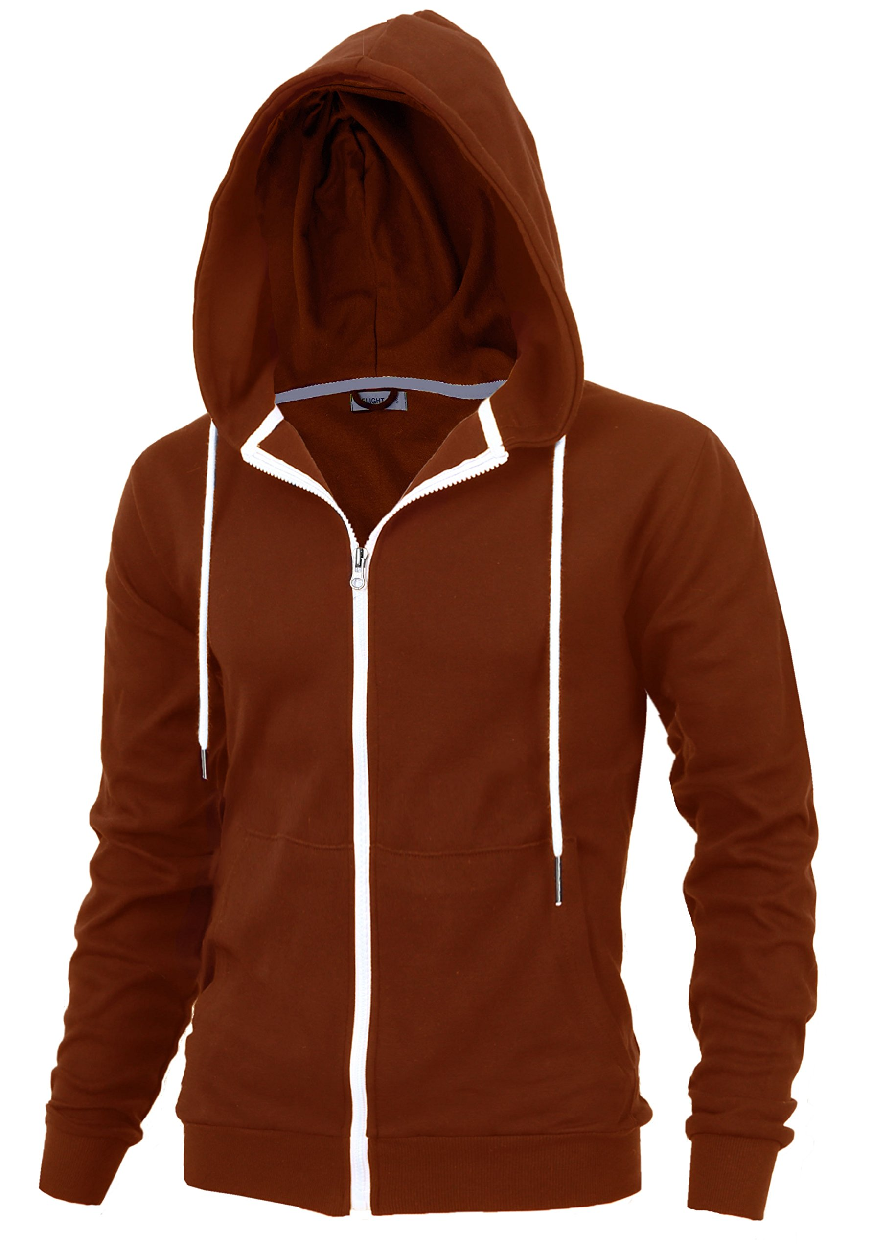 Delight Men's Fashion Fit Full-Zip Hoodie with Inner Cell Phone Pocket (US Large, Brick)