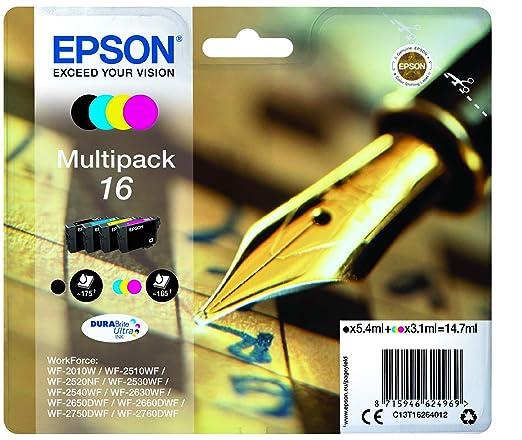 Epson C13T16344010 - Cartucho de tinta, amarillo,paquete estándar, XL válido para los modelos WorkForce WF-2010W, WF-2660DWF, WF-2750DWF, WF-2760DWF y ...