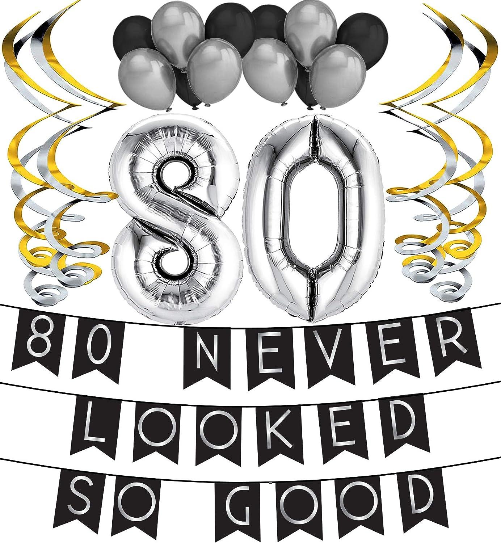 Decoraciones de Cumplea/ños 80 Suministros de Cumplea/ños y Paquete de Serpentinas Globos Paquete de Cumplea/ños 80 Never Look So Good Banderines de Cumplea/ños Negros /& Plateados
