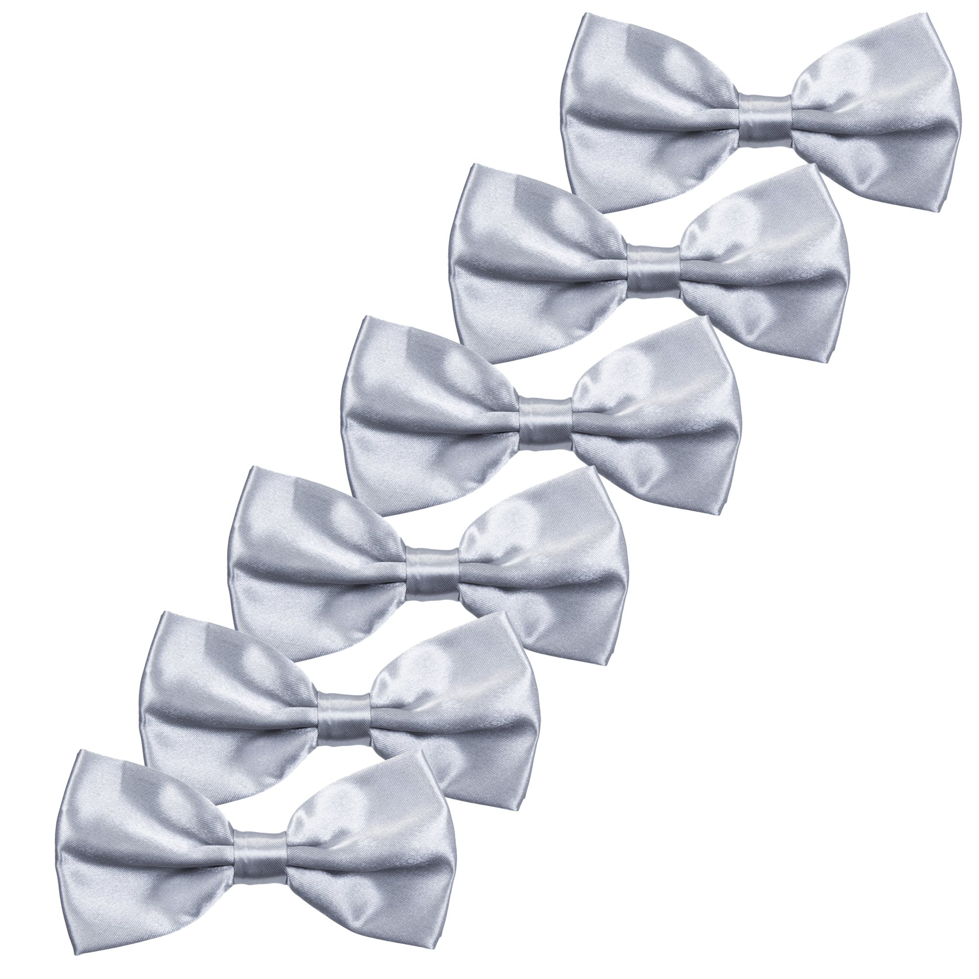 Boys Children Formal Bow Ties - 6 Pack of Solid Color Adjustable Pre Tied Bowties(Silver) by Kajeer (Image #1)