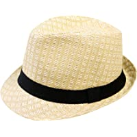 Simplicity Unisex Summer Cool Woven Straw Fedora Hat   Stylish Hat Band 4b945011fbb1