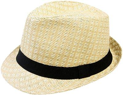 Mens Classic Upturn Brim Fedora Hats Vintage Porkpie Hat Beach Sun Hat Jazz Cap with Leopard Print Band