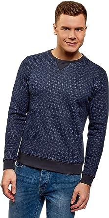 TALLA XS. oodji Ultra Hombre Suéter Estampado con Cuello Redondo