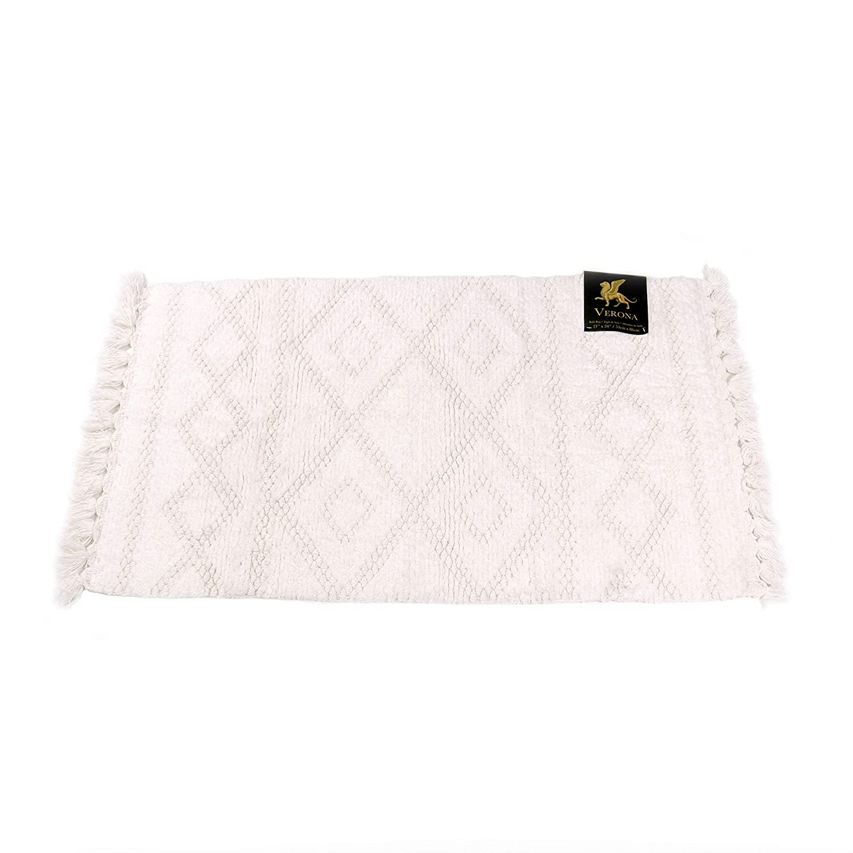 Verona | 100% Soft Absorbent Cotton | Bath Rug (21 x 34 in.) Unique Fringe Designs | Bathroom décor