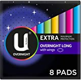 U by Kotex Extra Overnight Long Pads with Wings, Pack of 8