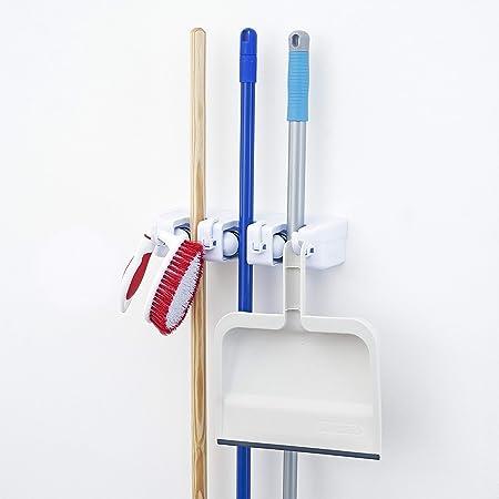 Garage Utility Hooks Heavy Duty laofoye Mop Broom Holder Wall Mount Mop Brush Organizer for Garage Garden Bathroom Kitchen Black