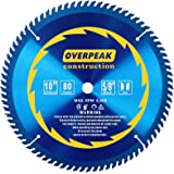 """Overpeak 10 inch 80 Tooth ATB Finish Hard & Soft Wood Saw Blade General Wood Cutting Saw Blade Circular Blade with 5/8"""" Arbor and PermaShield Coating"""