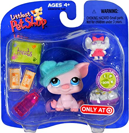 Movie Night PIG with Mouse Toy 22939 Bowl of Popcorn and Water Bottle Hasbro Year 2006 Littlest Pet Shop Exclusive Single Pack Sweet N Neat Pets Series Bobble Head Pet Figure Set #305