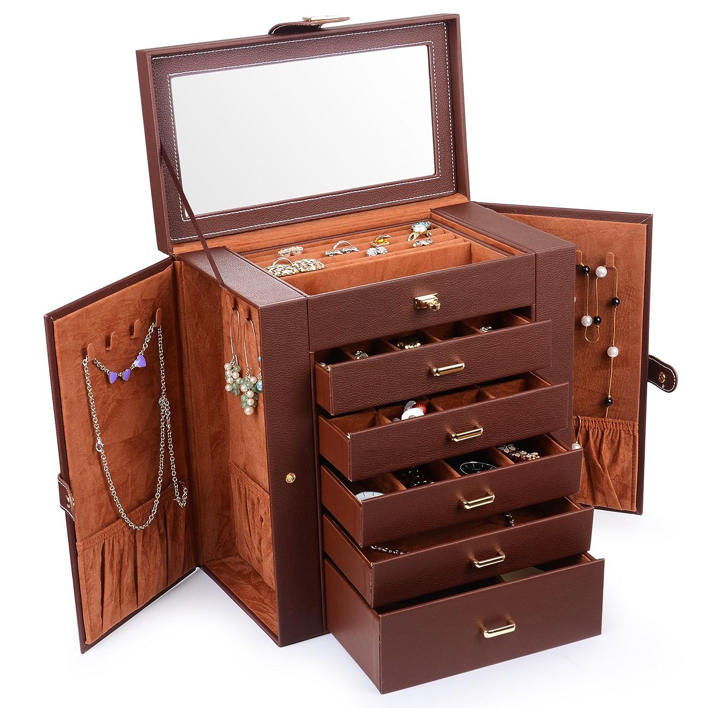 Kendal Huge Leather Jewelry Box/Case / Storage LJC-SHD5BK (Black) FBA_ZH-SHD5BK-FBA