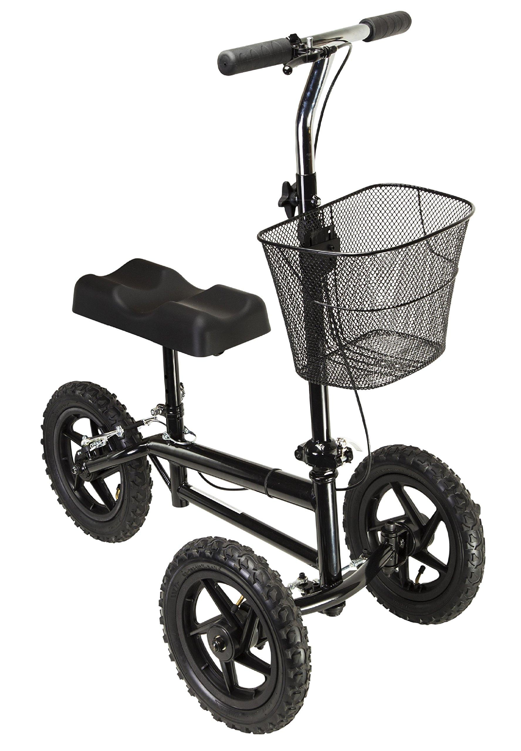 Azoob All Terrain Steerable Knee Walker Knee Scooter Crutches Alternative Super Duty 12'' Pneumatic Wheels