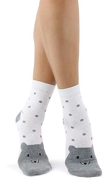 Mixmi Boutique Calcetines lindos del oso de peluche de las mujeres con los lunares