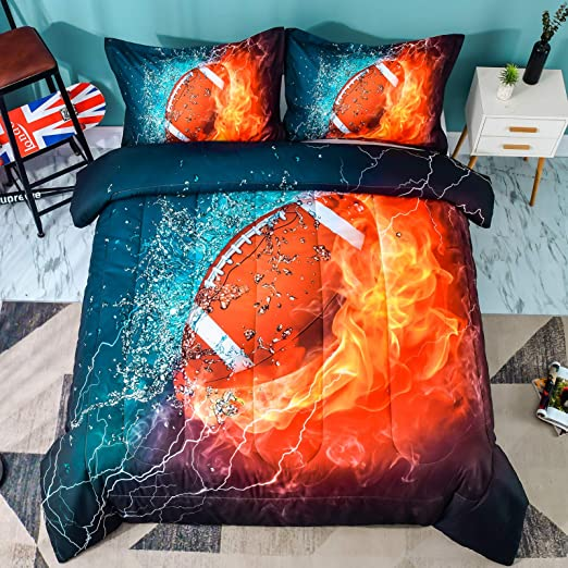 3-Pieces Sports Bedding Comforter Rugby Quilt Set Blue, Twin NTBED American Football Comforter Sets Twin Size for Boys Teens