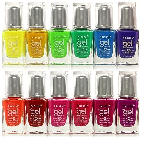 Amazon.com: 12pc Nabi Gel Nail Color Neon Nail Polish set of 12 ...