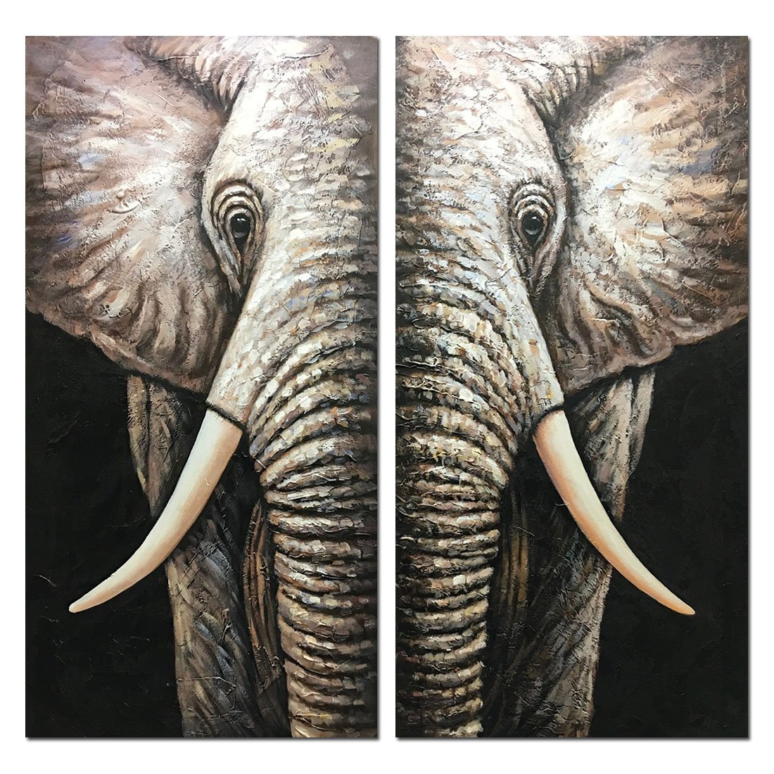 Yotree Paintings, 32x32 Inch Paintings Oil Hand Painting Elephant 3D Hand-Painted On Canvas Abstract Artwork Art Wood Inside Framed Hanging Wall Decoration Abstract Painting Living Room Bedroom