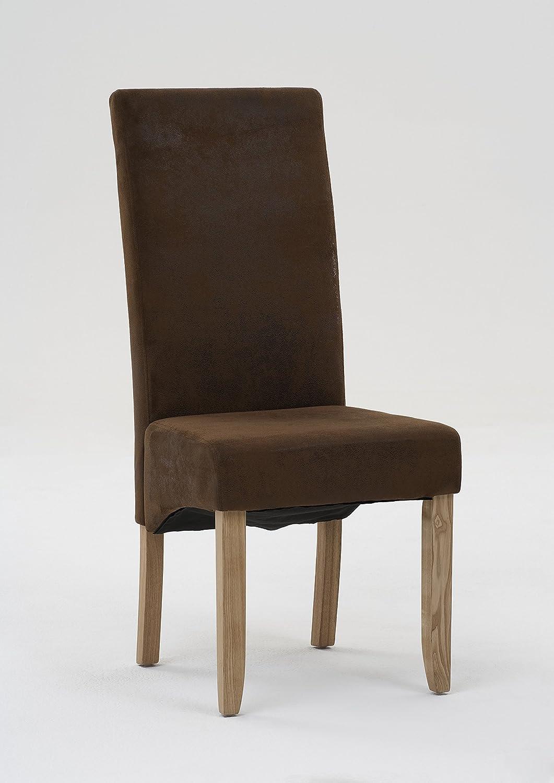 Esszimmer-Stuhl im 4er Set mit braunem Stoff in Wildlederoptik ...