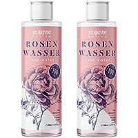 Reines Rosenwasser MonteNativo 2x200ml (400ml) - 100% natürlich, echtes Gesichtswasser, Rein und Naturbelassen, naturreines Rosen-Hydrolat, doppelte Wasserdampfdestillation, Naturkosmetik, Rose Water