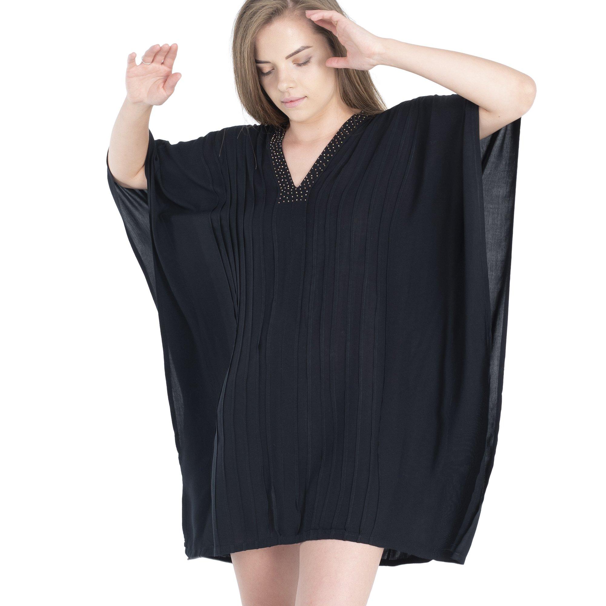 Boho Village Swimsuit Cover Ups for Women - Beach Dress, Black, One Size