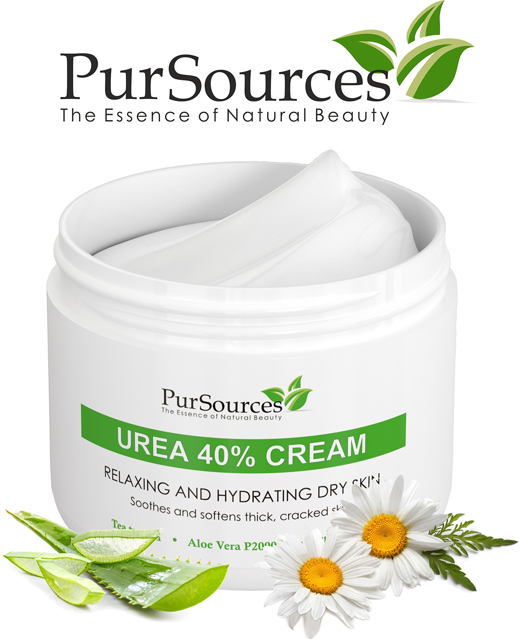 PurSources Urea 40% Foot Cream - No Pumice Stone - Best Callus Remover - Moisturizes and Rehydrates Feet, Knees & Elbows - For Thick, Cracked, Rough, Dead & Dry Skin - 4 oz - 100% Money Back Guarantee by PurSources