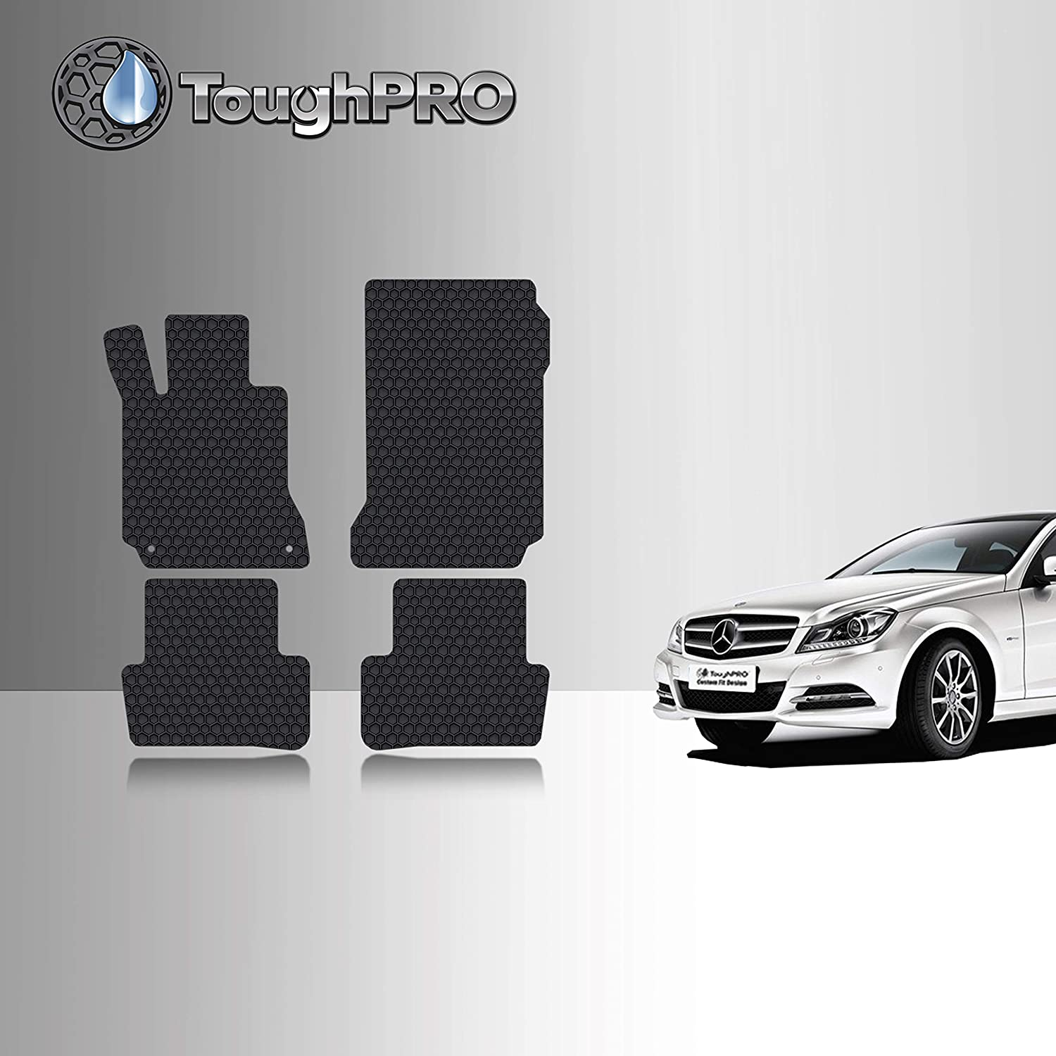 Front Row + 2nd Row Heavy Duty Sedan Compatible with Mercedes-Benz C Class 2012 2011 2010 TOUGHPRO Floor Mat Accessories Set 2008 2009 Black Rubber 2013 - All Weather 2014