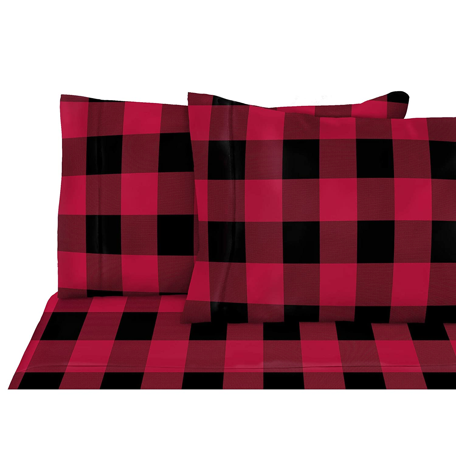 Flannel 100% Cotton 4 Piece Bed Sheet Set, Queen (Buffalo Red) 96503