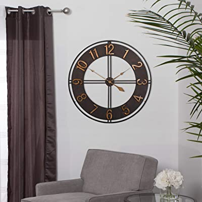 Studio Designs Home Industrial Loft 30 Inches Metal Wall Clock, Dark Bronze