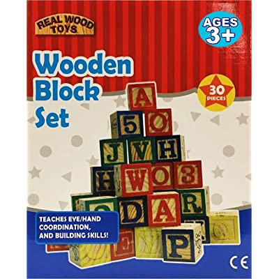 30 Piece Stack 'N Build ABC Wooden Blocks Set: Toys & Games
