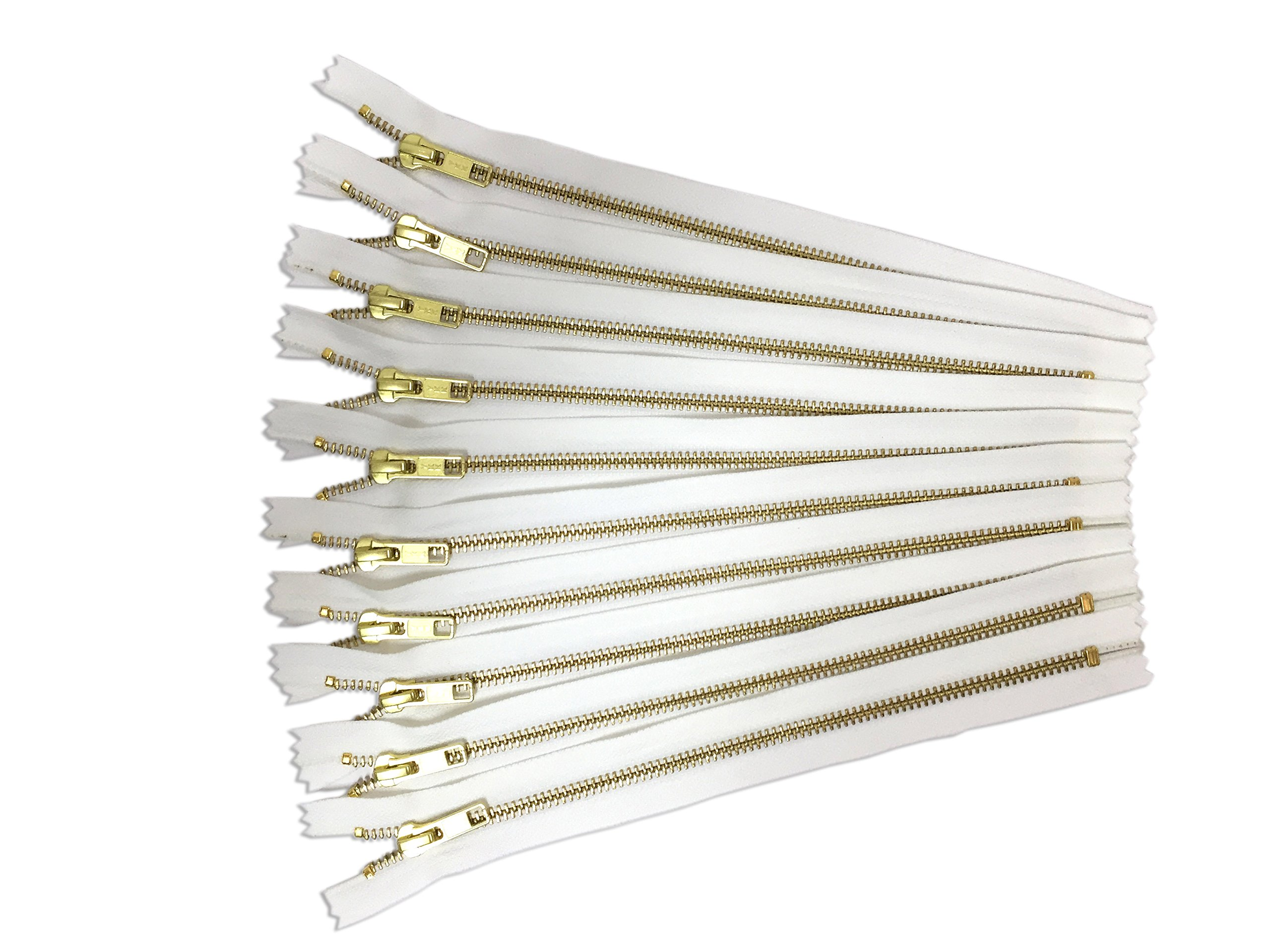 YKK Zippers White Gold No. 5 Metal Zips 14 inch Set of 12 by Craftbot