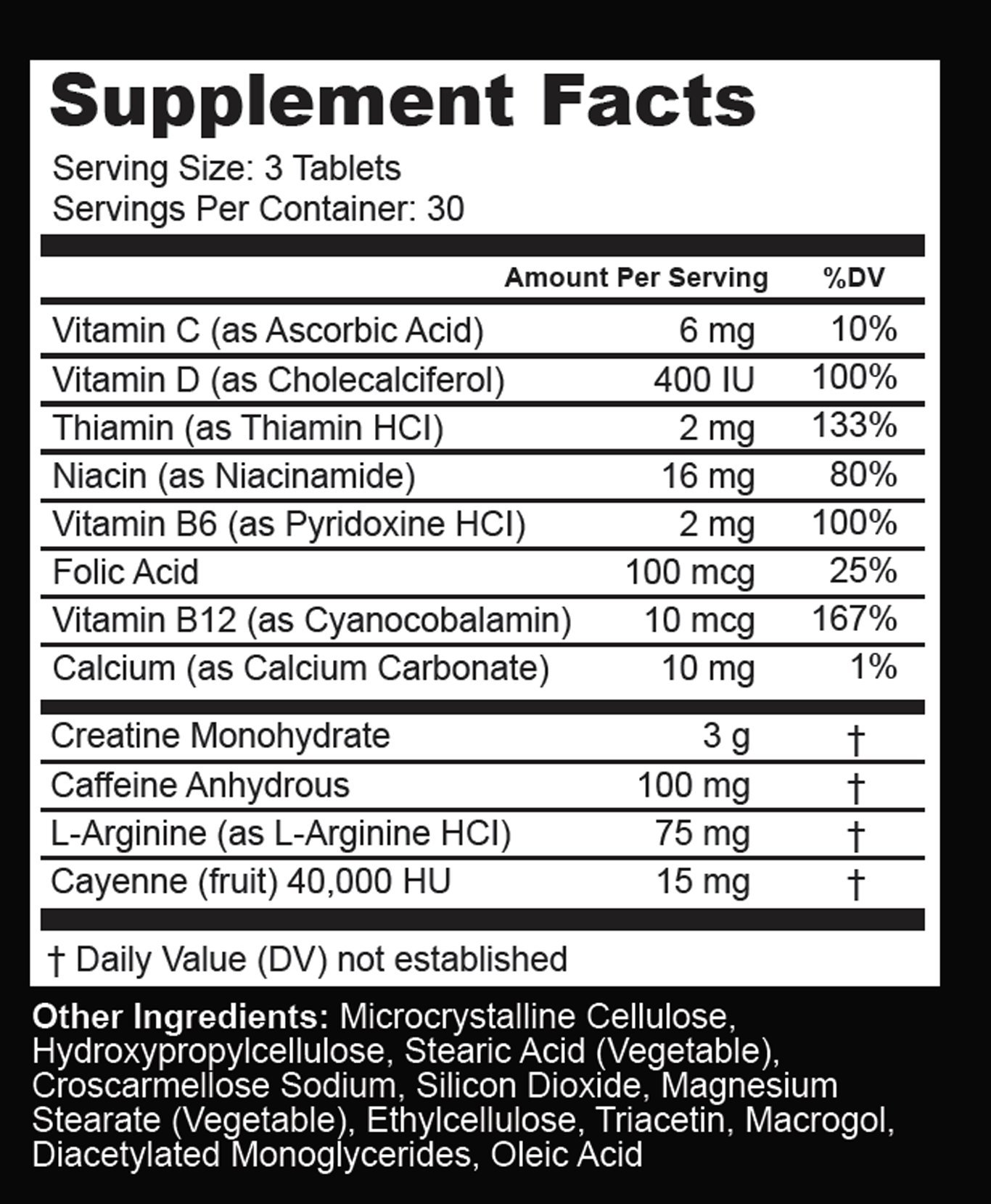Dyna Storm Nutrition Pre Workout, Creatine Pre Workout Supplement, tablets, 1 Bottle (30 day supply) by Dyna Storm Nutrition (Image #2)