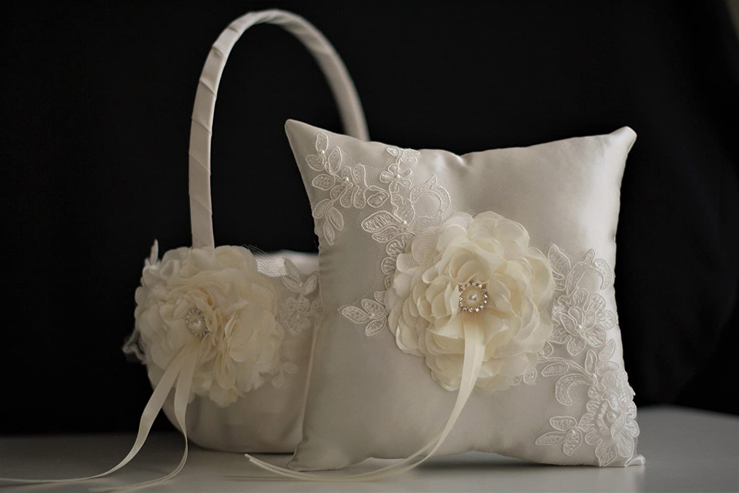 Flower girl Basket / Wedding Ring Bearer Pillow Set Ivory Lace + Ivory Guest Book + Unity Candles & Champagne Glasses + Cake Serving Set