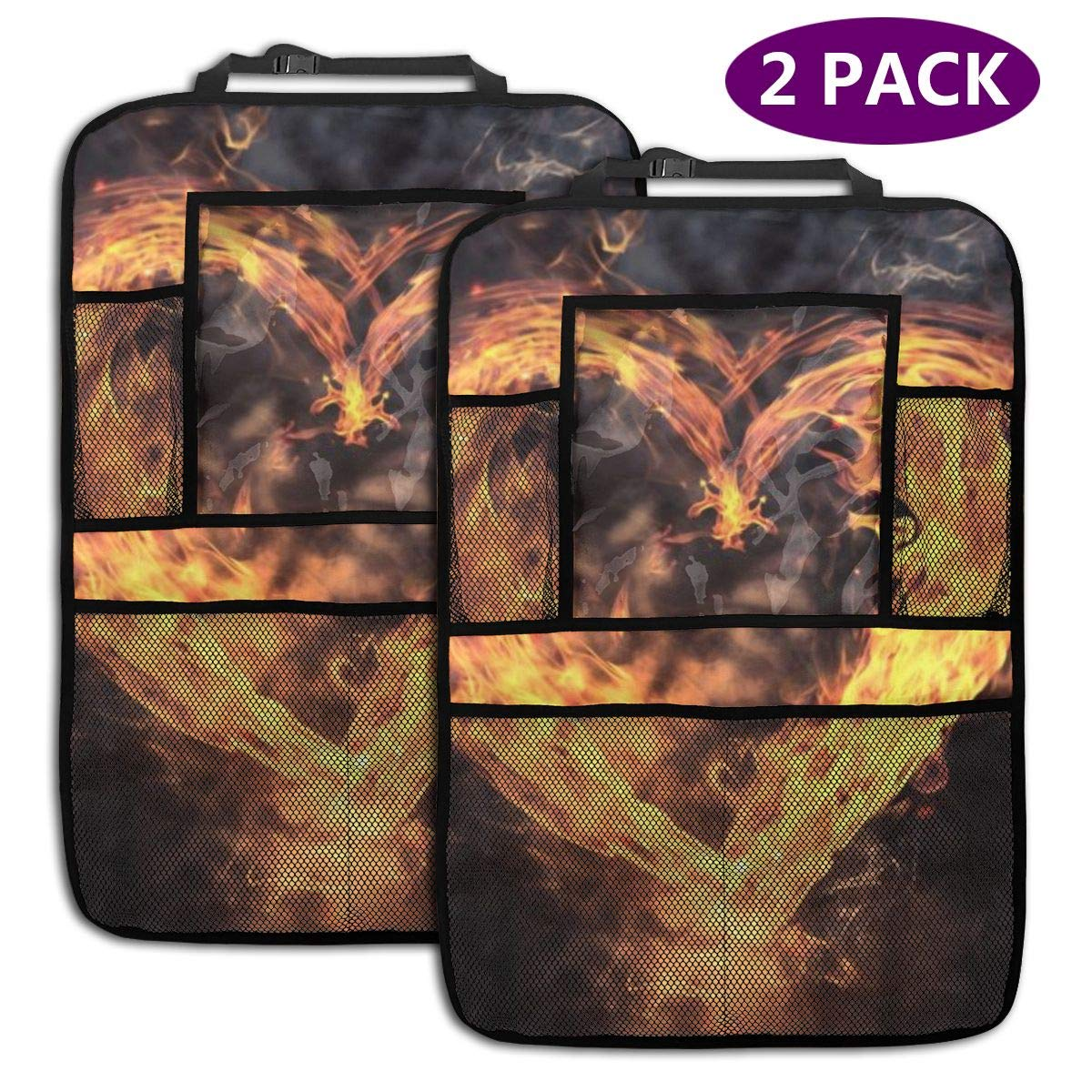 QF6FEICHAN Burning Heart Car Seat Back Protectors with Storage Pockets Kick Mats Accessories for Kids and Toddlers by QF6FEICHAN