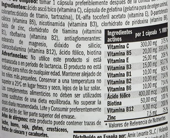 Amix 8594159533509 - B-Complex Vitaminas y Minerales, 62.1 gr: Amazon.es: Salud y cuidado personal