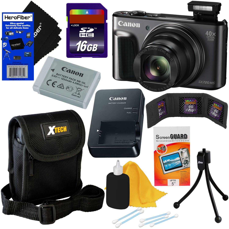 Canon PowerShot sx720 HS 20.3 MP Wi - Fiデジタルカメラwith 40 xズーム& HD 1080pビデオ(ブラック) +アクセサリーキットW/HeroFiber Gentleクリーニングクロス キット1  B01N9I0QQW