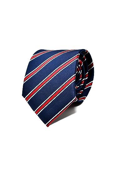 bdd06bae58c4b Oxford Collection Cravate Homme à rayures Bleu et Rouge - 100% en Soie -  Classique