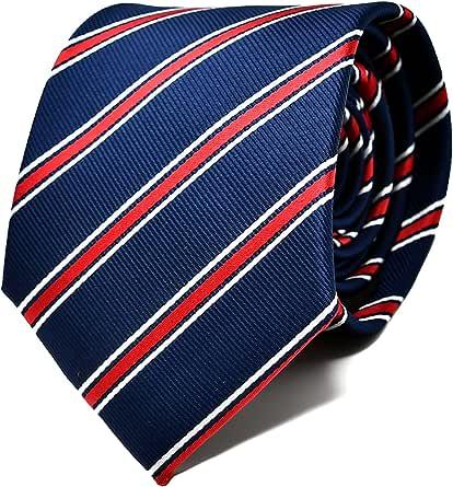 Oxford Collection Corbata de hombre Azul y Rojo a Rayas - 100% Seda - Clásica, Elegante y Moderna - (ideal para un regalo, una boda, con un traje, en la oficina.): Amazon.es: