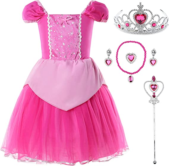 JerrisApparel Girls Pink Princess Costume Halloween Cosplay Party Dress up