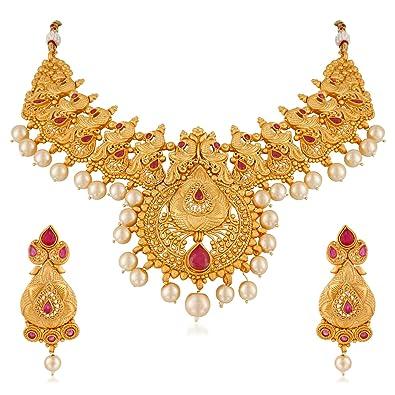 f03cead36610d MEENAZ 1 Gram Gold Plated Kundan Pearl Matt Jewellery Set with Earrings for  Women/Girls