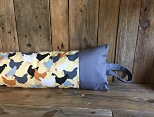 Classic Home Store Chickens Draught Excluder French Patio Door Extra Long Cotton Draft Stopper Grey Panel (5ft)