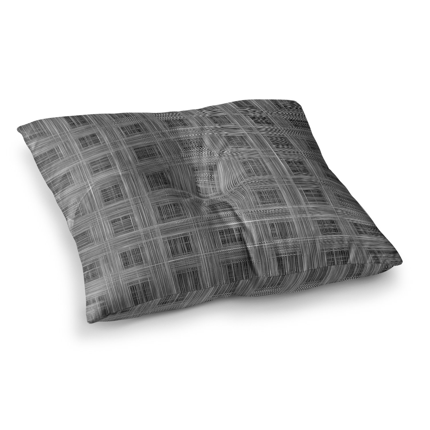 Kess InHouse Bruce Stanfield Ambient 10' Gray Pattern, 23' x 23' Square Floor Pillow