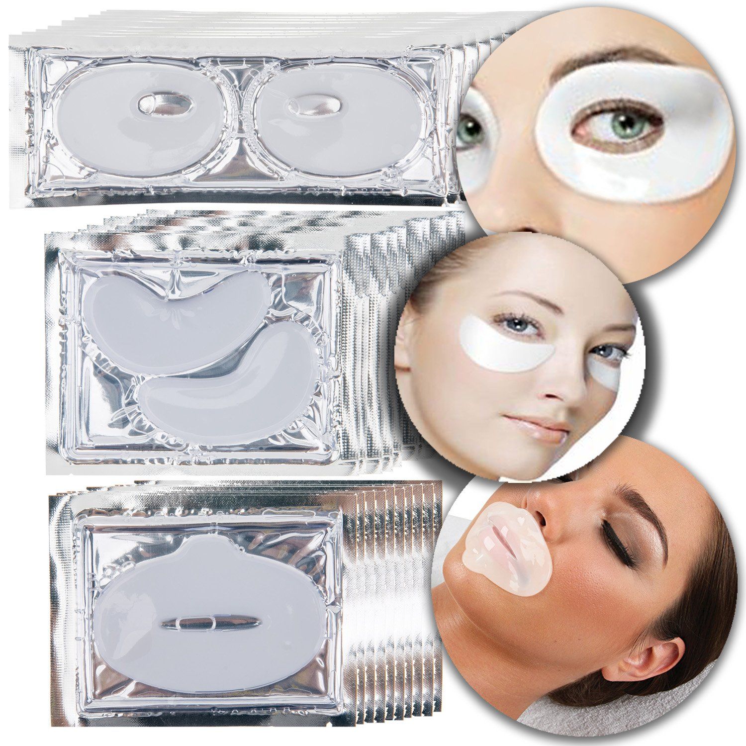 Anti Aging Treatments Set Kit of Milk White Collagen Gel Crystal Masks Patches Sheets for Lips, Eyes and Eyelids Fine Lines and Wrinkles Removal, Moisturizing Hydration, Skin Firming and Nourishing VAGA