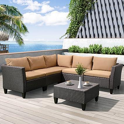 amazon com 6 piece outdoor garden patio furniture conversation sets rh amazon com