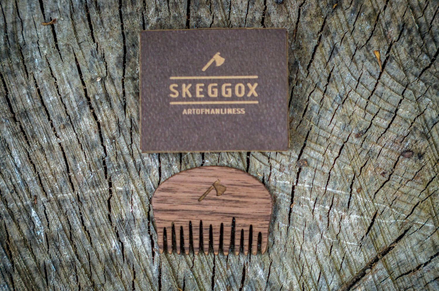 Handmade Small Beard and Mustache Comb by SKEGGOX - Pocket Comb - Mini - Perfect for Mustache - Finished with Organic Beeswax by SKEGGOX