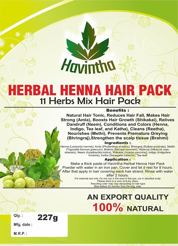 Havintha Paquete De Cabello De Henna A Base De Hierbas Naturales 11 Hierbas En Polvo Mehandi Mix (227 G) |