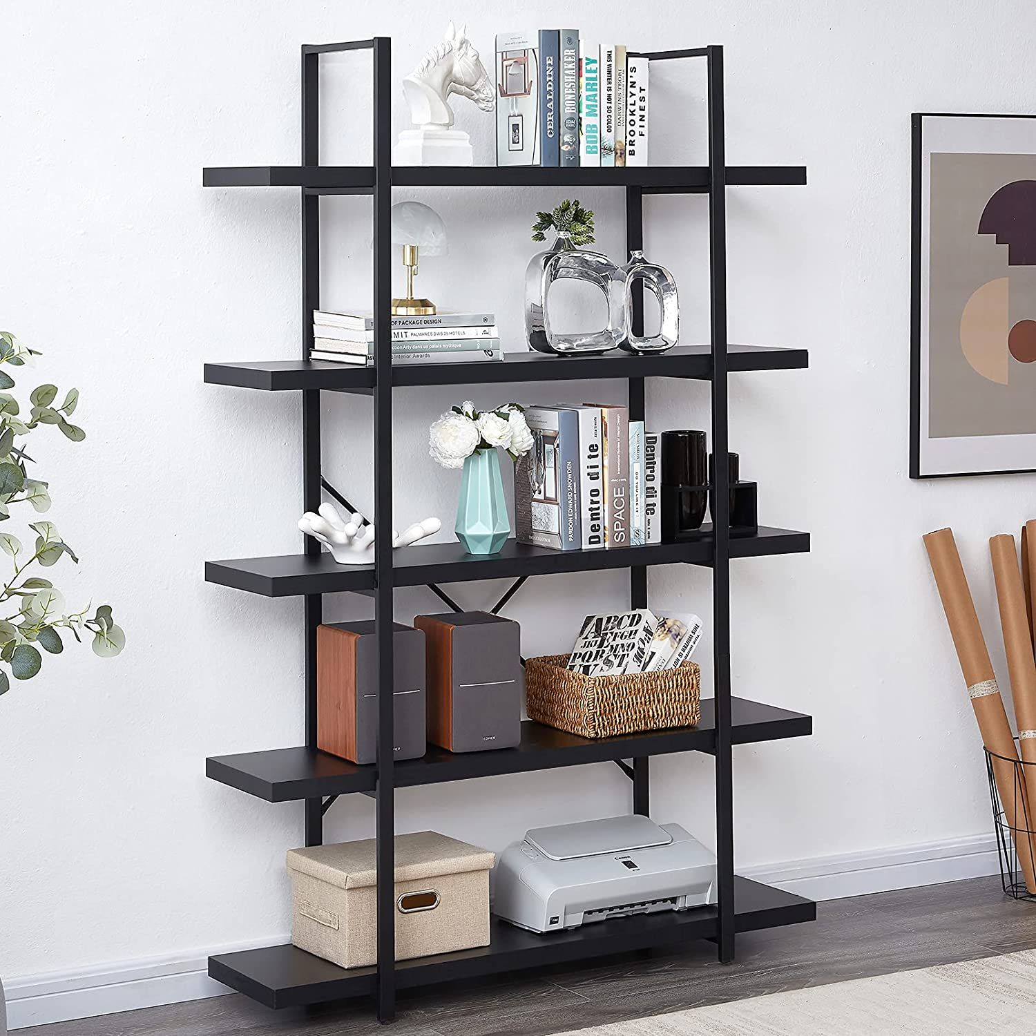 Superjare 5-Tier Bookshelf, Industrial Bookcase with Metal Frame, Modern Rustic Shelving Unit for Home Office, Wood Grain - Black