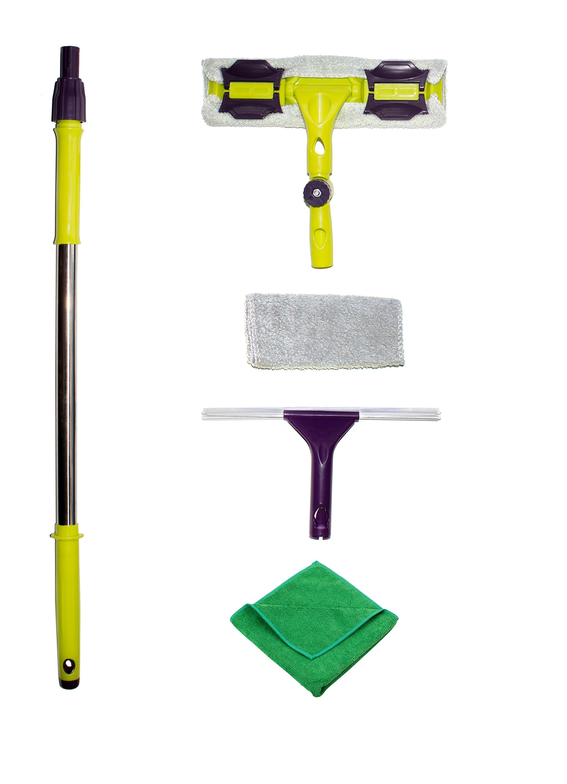 Premium Window Squeegee Kit with Extension Pole and Microfiber Glass Scrubber Includes Soft Rubber Blade and Replacement Cleaner Pad with Bonus Polishing Cloth for House Shower Car and Outdoor by Karinox