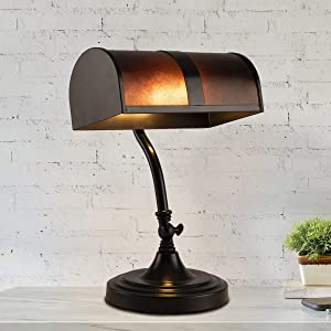 Lavish Home A1000830 Bankers Lamp-Mission Style Amber Mica Shade Table or Desk Light LED Bulb Included – Classic Vintage Look Accent Decor, Multi-Color