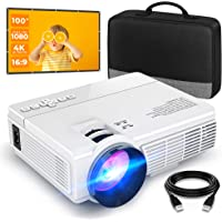 """Mini Projector (100"""" Screen Included), Supports 1080P and 200'' Display, 50,000 Hrs LED Lamp Life, Portable Movie…"""