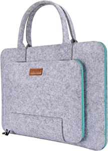 """Ropch 17.3 Inch Laptop Sleeve Bag, Felt Notebook Case Pouch with Handle Compatible with 17.3"""" Asus/Lenovo, Gray & Light Blue"""