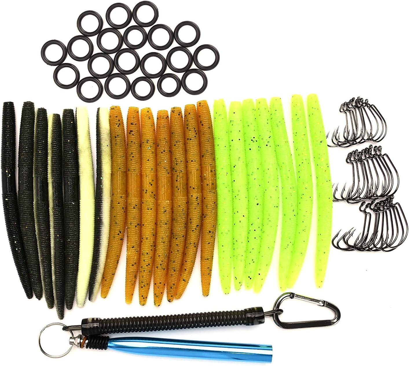 Wacky Rig Worm Kit Artificial Soft Plastic Bait Set Fishing Fake Lures 176 Piece